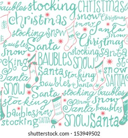 Christmas words and stockings seamless pattern