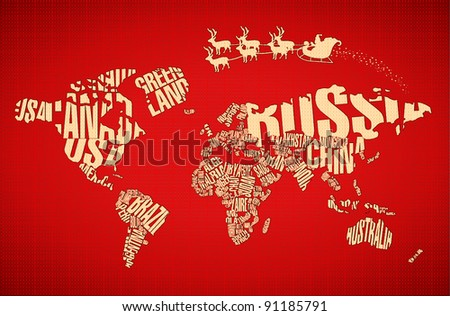 Christmas World Map Typography Santa Claus Stock Vector Royalty