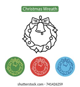 Christmas wreath with bell icon on white background. New year Chrismas object isolated on white background. Graphic for Web Design. Winter holidays vector illustration, line style. Editable stroke.