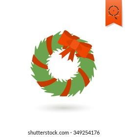 Christmas Wreath With Bow. Colorful. Single Flat Icon . Vector