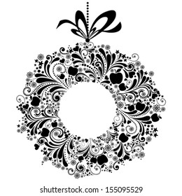 Christmas wreath with  bow isolated on white background. Vector illustration