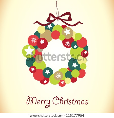 christmas wreath card template stock vector royalty free 115177954