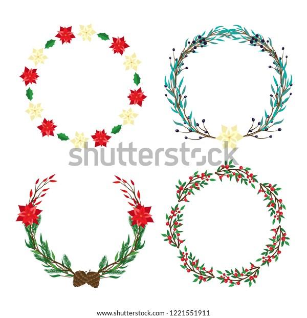 Christmas Wreath Clipart.Christmas Wreath Clipart Frame Poinsettia Leaves Stock
