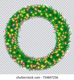 Christmas wreath with colourful glowing garlands on transparent background. Christmas and happy new year greeting card. Vector illustration for festive decoration.