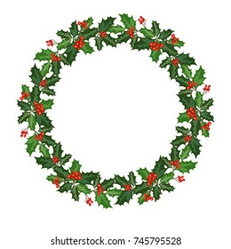 Christmas wreath decorated with holly and berries. Design decoration for Merry Christmas holiday. Vector illustration