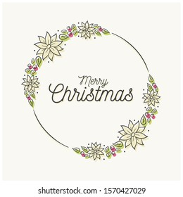 Christmas wreath decorated with ornaments illustration