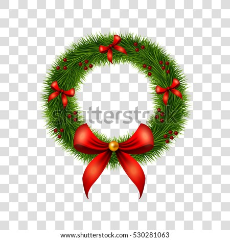 Christmas Wreath Decoration Red Bows Holly Stock Vector Royalty