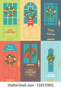 Christmas wreath door decorations flat vector banner set