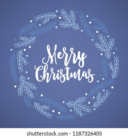 Christmas wreath with fir branches and snowflakes on dark blue background. Perfect for holiday greeting cards.
