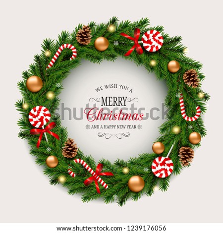 Christmas Wreath Images Free.Christmas Wreath Gold Balls Candy Canes Stock Vector