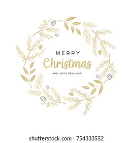 Christmas wreath with gold branches and pine cones. Unique design for your greeting cards, banners, flyers. Vector illustration in modern style.