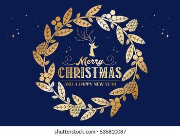christmas wreath christmas greetings template vector/illustration