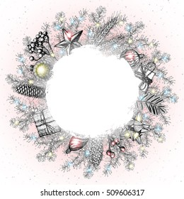 Christmas wreath. Hand drawn illustration with fir tree branches and glowing Christmas lights and space for text. Traditional for greeting and invitation card, holiday banner. Vector.