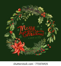 Christmas Wreath with hand Lettering