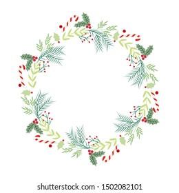 Christmas wreath. Holidays decor. Christmas template