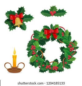Christmas wreath, holly berry and Xmas decorations. Vector jingle bell with bow and candle, winter holiday celebration. New Year and festive objects, traditional adornments or house decor isolated