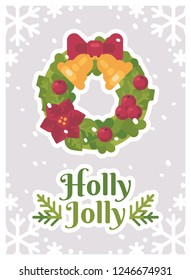 Christmas wreath holly jolly greeting card
