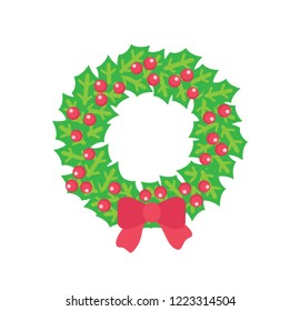 Christmas wreath with holly red berries and bow. Vector isolated clipart of holly maple with red berries and bowknot on it. Mistletoe wreath, door decor