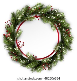 Christmas wreath with holly and snowflakes. Vector illustration.