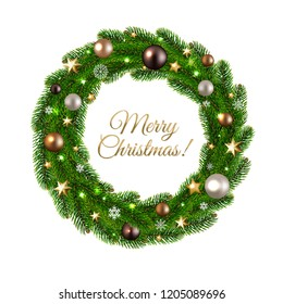 Christmas Wreath Isolated With Gradient Mesh, Vector Illustration