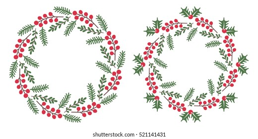 Christmas wreath isolated on white background. Used for greeting card, web and banner design. Christmas round frame. Vector set