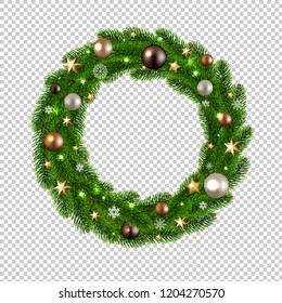Christmas Wreath Isolated Transparent Background With Gradient Mesh, Vector Illustration