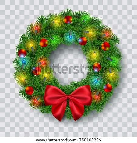 christmas wreath with lights baubles and red ribbon bow decoration vector illustration
