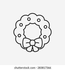 Christmas wreath line icon