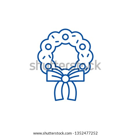 Christmas Wreath Line Icon Concept Christmas Stock Vector Royalty