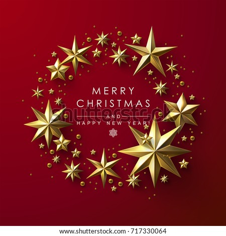christmas wreath made cutout gold stars stock vector royalty free