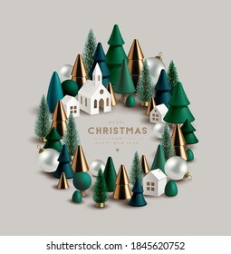 Christmas wreath made of little toy wooden and glass Christmas trees festive elements and cite little white houses.