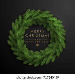 Christmas Wreath Made of Naturalistic Looking Pine Branches.