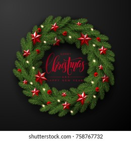Christmas Wreath Made of Naturalistic Looking Pine Branches Decorated with Red Stars and Bubbles.