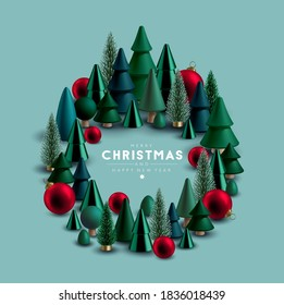 Christmas wreath made of Christmas trees and festive elements.