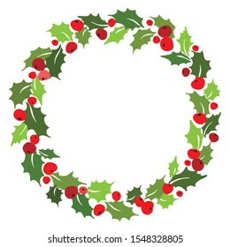Christmas wreath of mistletoe with holly berries. Vector illustration.