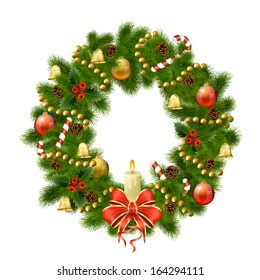 Christmas wreath on white background. Xmas decorations. Vector eps10 illustration