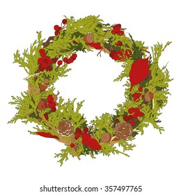 Christmas wreath on white background. Vector illustration
