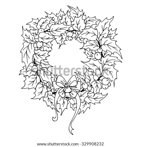 Christmas Wreath Outline Stock Vector Royalty Free 329908232