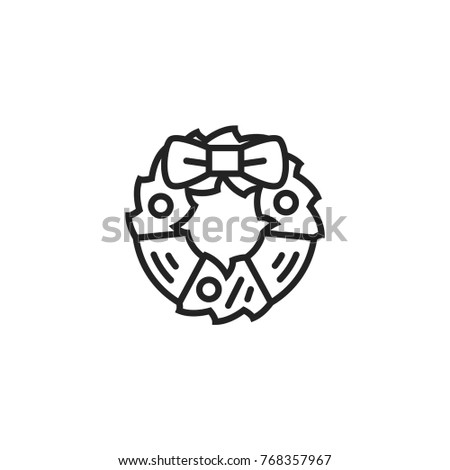 Christmas Wreath Outline Icon Stock Vector Royalty Free 768357967