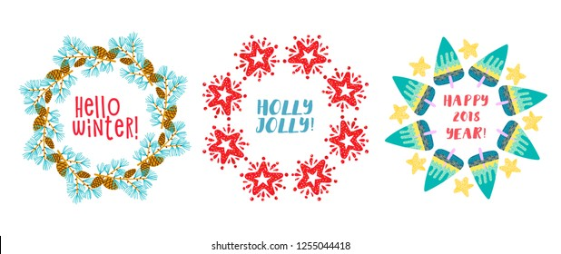 Christmas wreath Pine Branches, star decorated. Vector illustration
