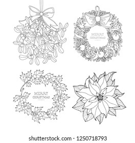 Christmas wreath, poinsettia, hanging mistletoe sprigs, holly berry branch isolated. Xmas symbols. Set collection. Vector artwork. Black and white. Coloring book pages for adult. Holiday concept.