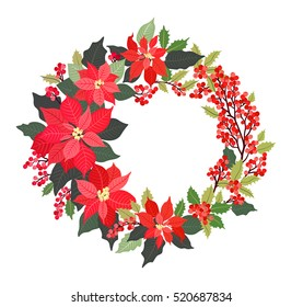 Christmas Wreath. Poinsettia plant, Holly, red berries. Decorative wreath of flowers. Holiday garland, festive clip art isolated on white background. Merry Christmas and Happy New Year Card.