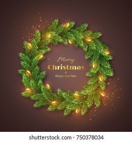 Christmas wreath with realistic glossy garland, glowing lights. Golden Merry Christmas and happy new year text, holiday background. Vector illustration.