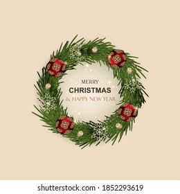 Christmas wreath realistic pine branches. Decorative design elements, snowflakes, balls, baubles. Round frame made of festive winter decor.