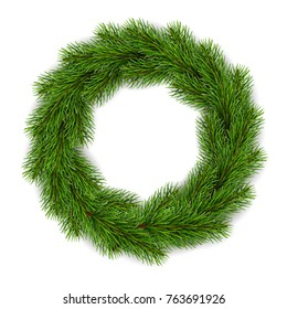 Christmas wreath. Realistic vector illustration. Element for design greeting cards.