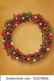 Christmas wreath with red berries. Festive decoration. Greeting card