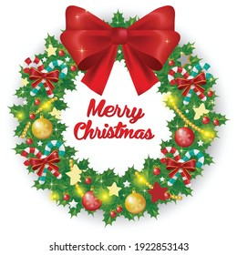 Christmas wreath with red bow and ribbon. Decorated wreath of pine branches realistic look, with berries, star and pearl decorations