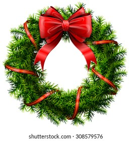 Christmas wreath with red bow and ribbon. Decorated wreath of pine branches isolated on white. Vector image for new year's day, christmas, decoration, winter holiday, design, new year's eve, etc