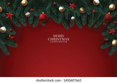 Christmas wreath with red and gold decorations, ribbons and berries. Wood texture background. Vector illustration