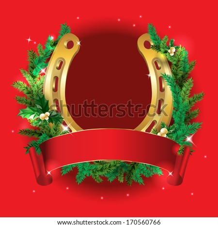 christmas wreath with red ribbon and golden horseshoe on a red background - Horseshoe Christmas Wreath